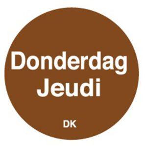 Permanente sticker donderdag 19 mm 1000/rol