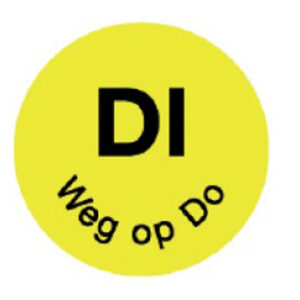 Perm. sticker 'di weg op do' 19 mm 1000/rol