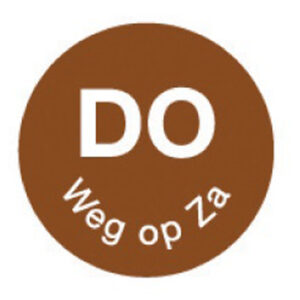 Perm. sticker 'do weg op za' 19 mm 1000/rol