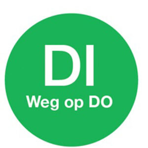 Afwasb. sticker 'di weg op do' 19 mm 500/rol