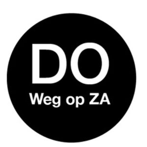 Afwasb. sticker 'do weg op za' 19 mm 500/rol
