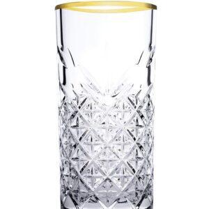 Timeless longdrinkglas gouden rand 300 ml