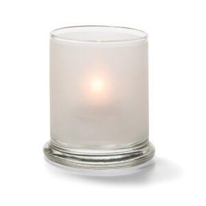 Cilinder glas breed onderstel wit 7,6 x 9 cm