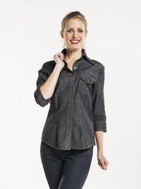 Women Antra Denim Stretch 3/4 Sleeve Blouse