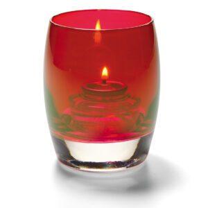 Bolvormige lamp glas rood 7,6 x 9,5 cm