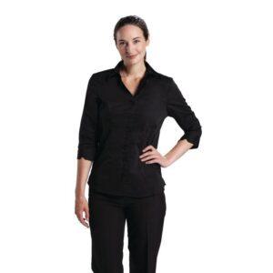 Uniform Works dames stretch shirt zwart S