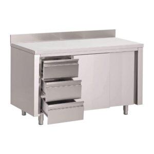 Gastro M werktafel met 3 laden links, schuifdeuren en achter