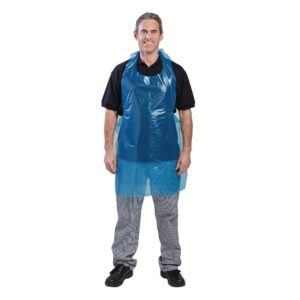 Disposable polyethyleen schort 8,5 micron blauw (100 stuks)