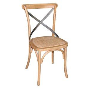 Bolero houten stoel met gekruiste rugleuning naturel