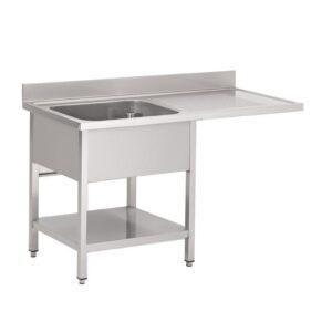Gastro M RVS spoeltafel met ruimte voor vaatwasser 120x70cm