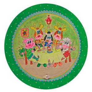 Kinderbord met rand 'friethuis' groen 26.7 cm