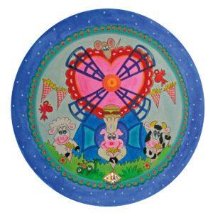 Kinderbord met rand 'frietmolen' blauw 26.7 cm
