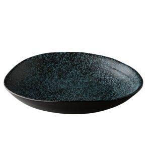 Chameleon diep bord zwart met blauwe spikkels 24cm