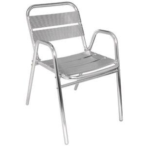 Bolero stapelbare aluminium stoelen met gebogen armleuning