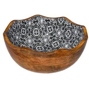 Houten kom zwarte bloem Ø30×11 cm 3L