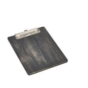 Houten menu klembord zwart 24.5 x 18.5 cm