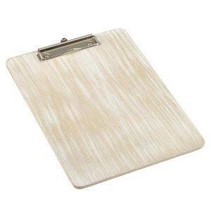 Houten menu/rekening klembord white wash A4