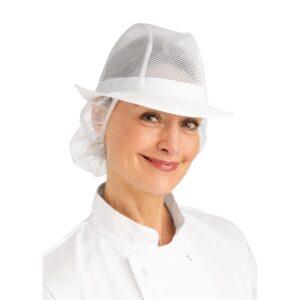Trilby hoed met haarnetje wit S