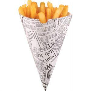 Colpac biologisch afbreekbare friteszakken met krantenprint