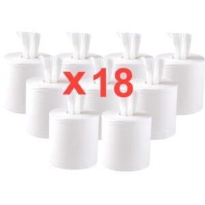 Jantex centrefeed 2-laags handdoekrollen wit 120m (18 stuks)