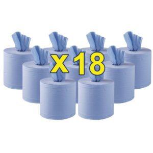 Jantex centrefeed 2-laags handdoekrollen blauw 120m (18 stuks)