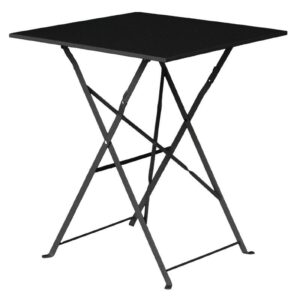 Bolero vierkante opklapbare stalen tafel zwart 60cm