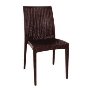 Bolero kunststof rotan stoel zonder armleuning bruin – 4 stuks
